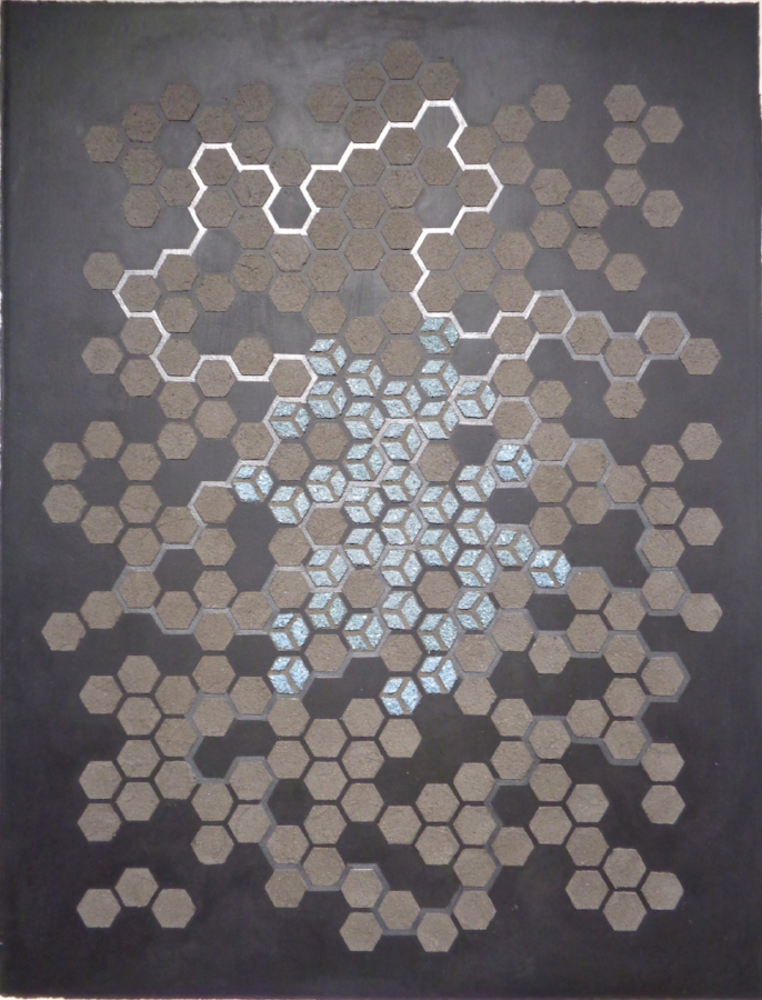Eleanor White,  Emu Ash Honeycomb Black Paper , 2018, wood ash, emu eggshell, graphite, acrylic, polymer medium on paper, 30 x 23 inches (unframed), 33.5 x 26.5 inches (framed), $2000. (framed)