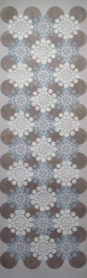 Blue Brown Dots , 2018, wood ash, emu eggshell on painted paper, 57.5 x 17.75 inches (unframed), 61 x 21 inches (framed)