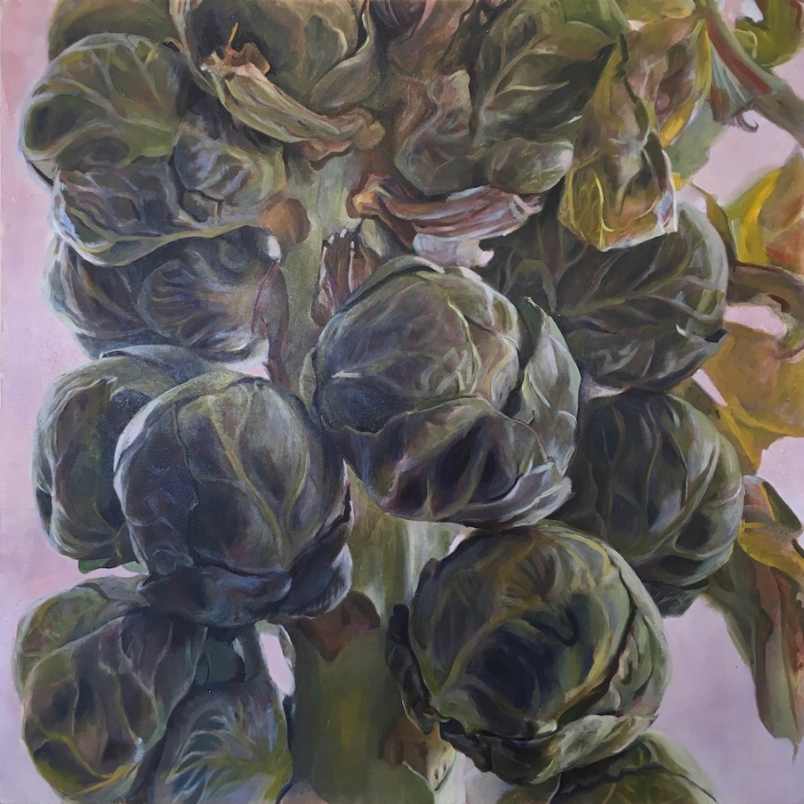 Brassica Oleracea Medulla , 2018, oil on canvas, 30 x 30 inches, $5000. (each), $9000. (two), $13,500. (three)