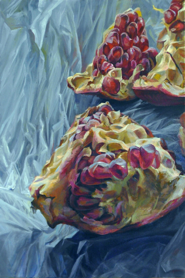 Granatum Scissa  (left), 2017, oil on canvas, 36 x 96 inches (triptych), $10,000.