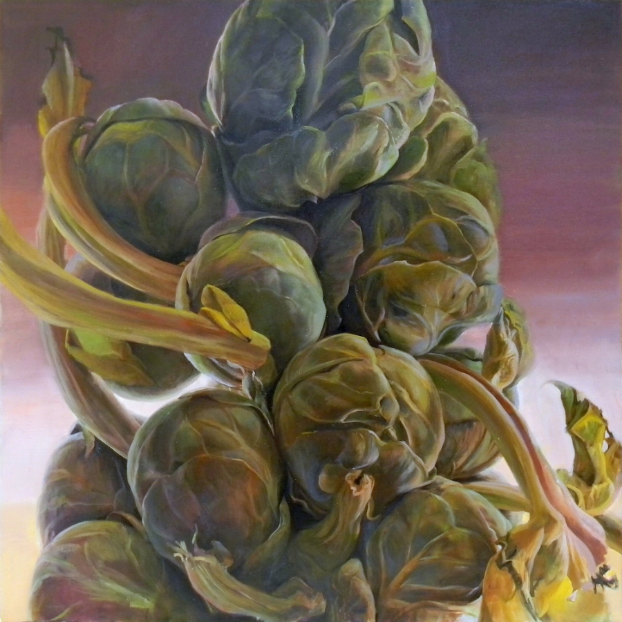 Brassica Oleracea Caput , 2018, oil on canvas, 30 x 30 inches, $5000. (each), $9000. (two), $13,500. (three)