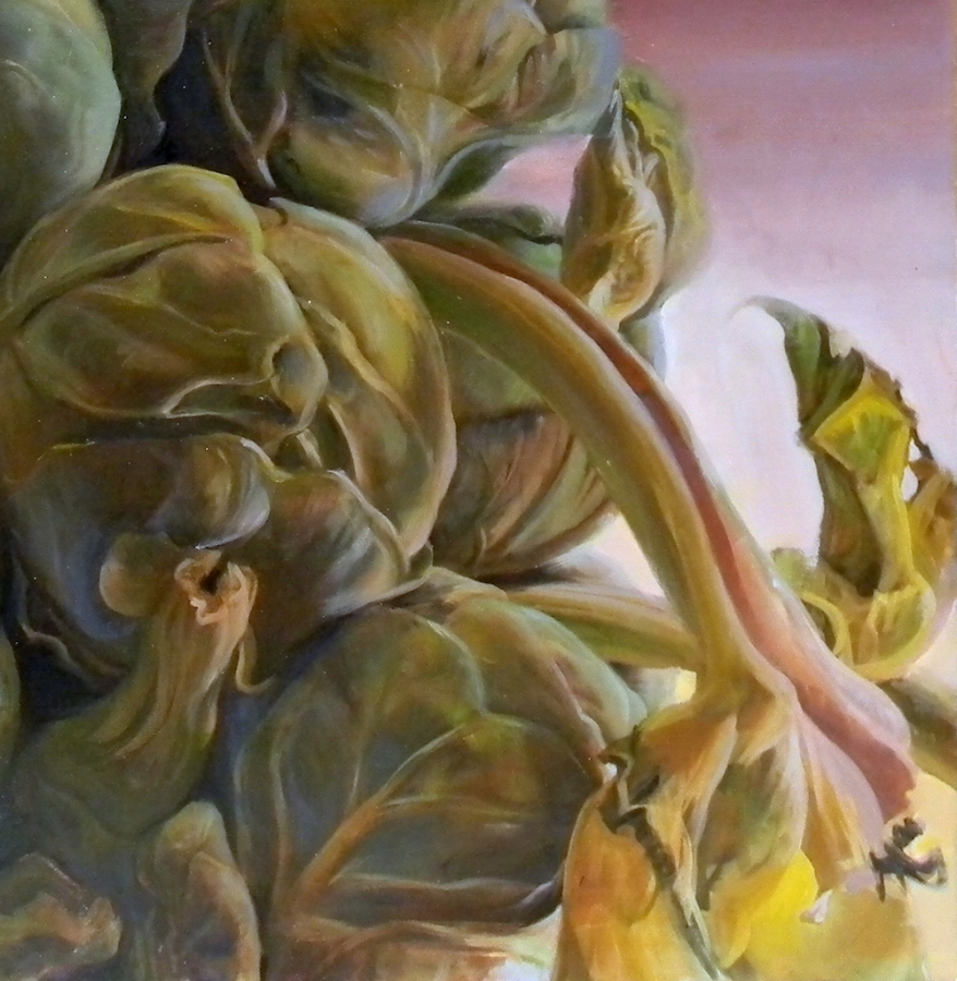 Brassica Oleracea Caput  (detail), 2018, oil on canvas, 30 x 30 inches, $5000. (each), $9000. (two), $13,500. (three)