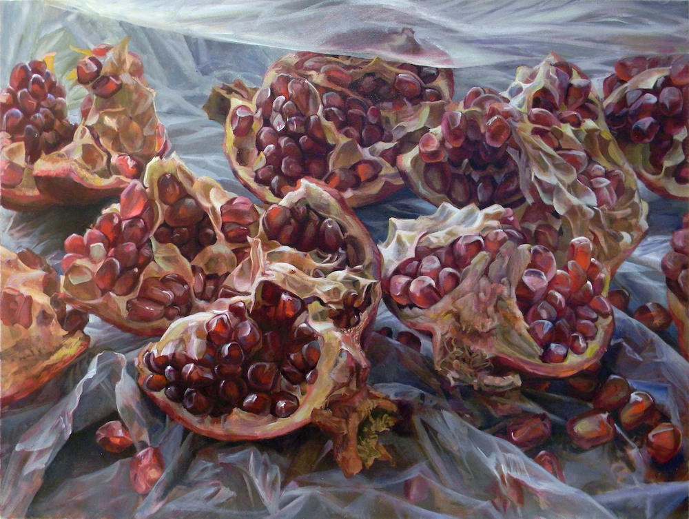 Granatum Scissa  (center), 2017, oil on canvas, 36 x 96 inches (triptych), $10,000.