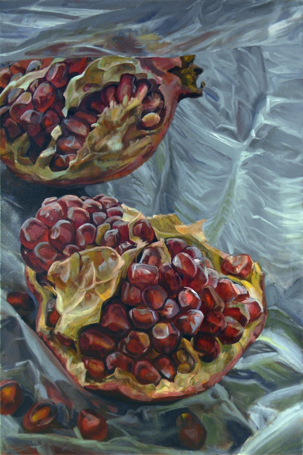 Granatum Scissa  (right), 2017, oil on canvas, 36 x 96 inches (triptych), $10,000.