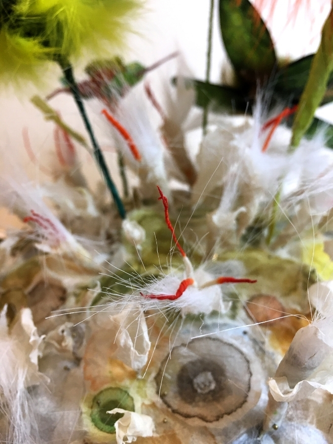 Jill Parisi,  Greenwell's Glory  (detail), 2018 intaglio prints on lokta tissue weight paper, fiber reactive dye, acrylic ink on handmade overeaten abaca fiber, wire, faux fur, fur, feathers, entomology pins in glass cloche, 15 inches x 9.75 inch diameter, $2000.