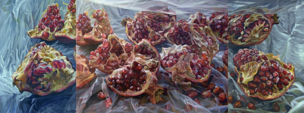 Granatum Scissa , 2017, oil on canvas, 36 x 96 inches (triptych), $10,000.