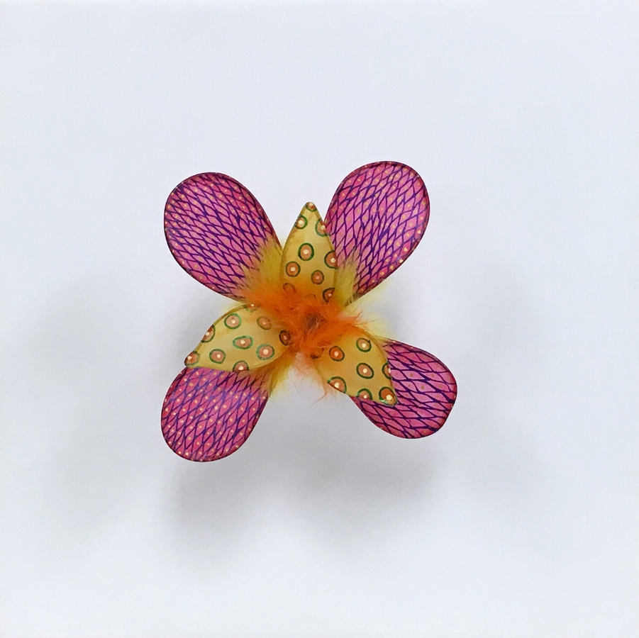 Fishnet Fire Flower , 2018, fiber reactive dye, acrylic ink on handmade overeaten abaca fiber, wire, fur, 12.5 x 12.5 x 6.25 inches, $1500.
