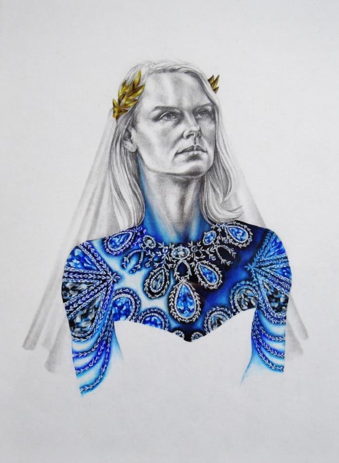 Bonaparte Bride 1 , 2016, colored pencil and, graphite on paper, 11.5 x 8.5 inches, $550. (unframed)