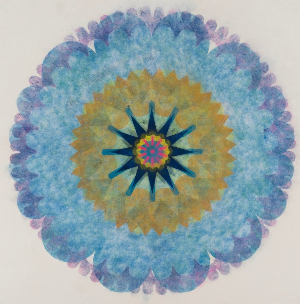 Mary Judge,  Pop Flower 63 , 2018, powdered pigment on paper, 30 x 30 inches (unframed), $3500. (unframed), 33.75 x 33.75 inches (framed), $3900. (framed)
