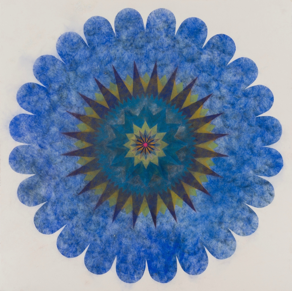 Mary Judge,  Pop Flower 65 , 2018, powdered pigment on paper, 30 x 30 inches (unframed), $3500. (unframed), 33.75 x 33.75 inches (framed), $3900. (framed)