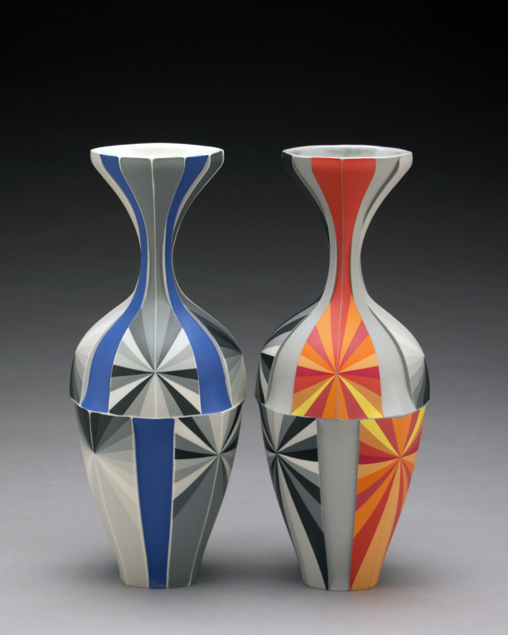 Peter Pincus,  Delphinium Vase  and  Orange Vase , 2018, colored porcelain, 13 x 5.5 x 5.5 inches, $3800. (each)