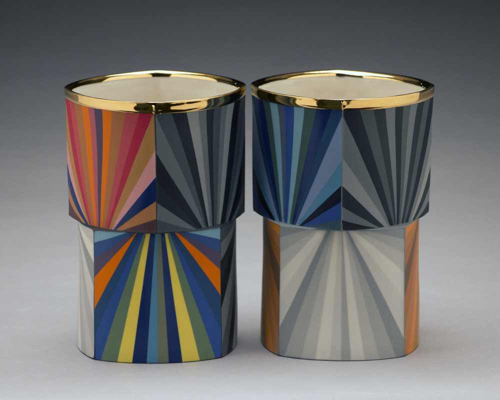Peter Pincus,  Quatrefoil Columns #1  and  #2  (Side B), 2018, colored porcelain, gold luster, 6.5 x 4.5 x 4.5 inches, $1500. (each)