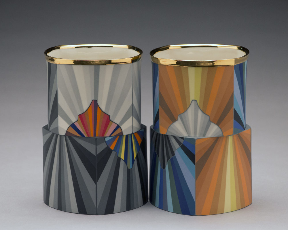 Peter Pincus,  Quatrefoil Columns #1  and  #2  (Side A), 2018, colored porcelain, gold luster, 6.5 x 4.5 x 4.5 inches, $1500. (each)
