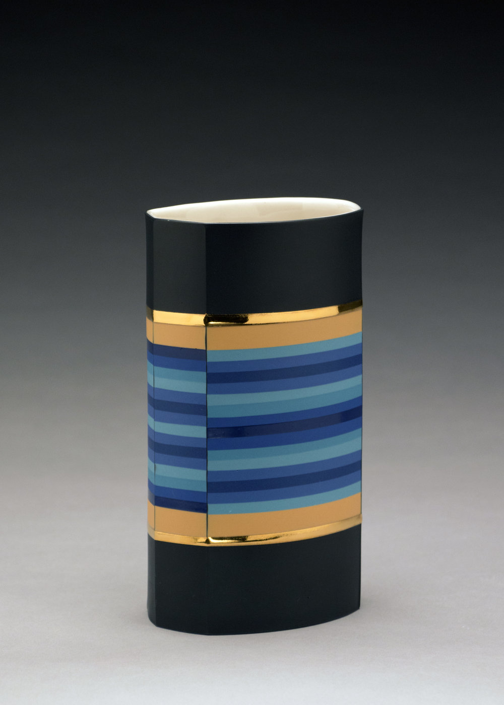 Peter Pincus,  Banded Column , 2018, colored porcelain, gold luster, 8 x 4.5 x 3.5 inches, $1500.