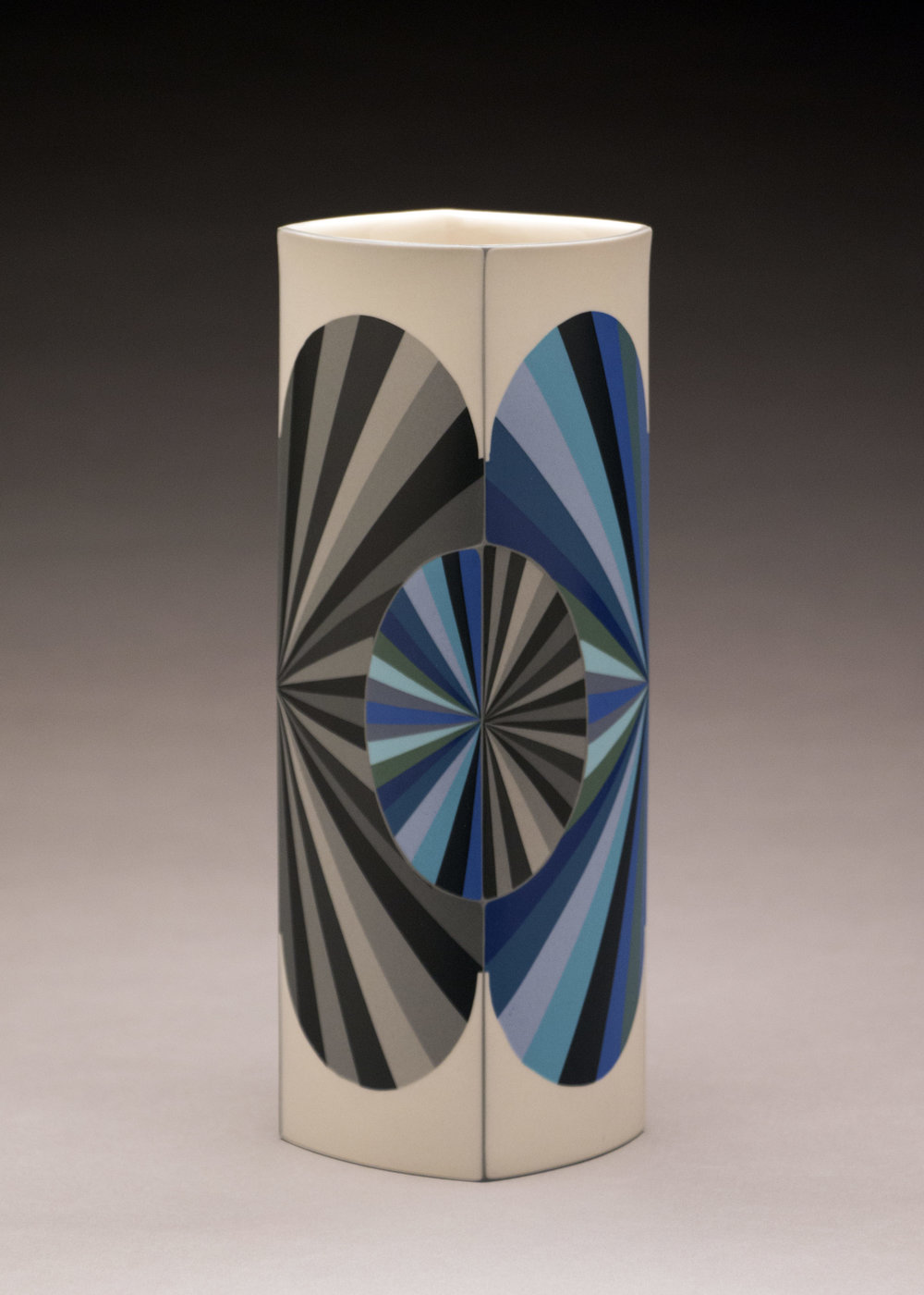 Peter Pincus,  Inversion Column  (side A), 2018, colored porcelain, 9.5 x 4 x 4 inches, $1800.
