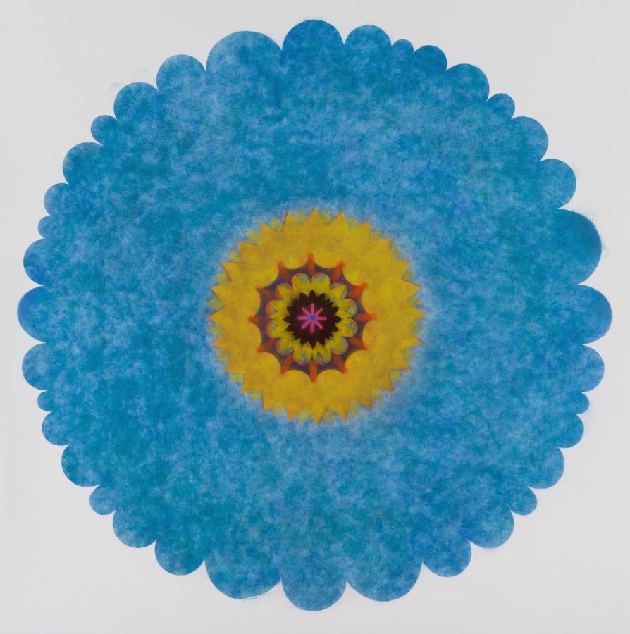 Pop Flower, Opus Series 6 , 2018, powdered pigment on paper, 44 x 44 inches (unframed) $4200. (unframed), 49.25 x 49.25 inches (framed), $4900. (framed) (sold)