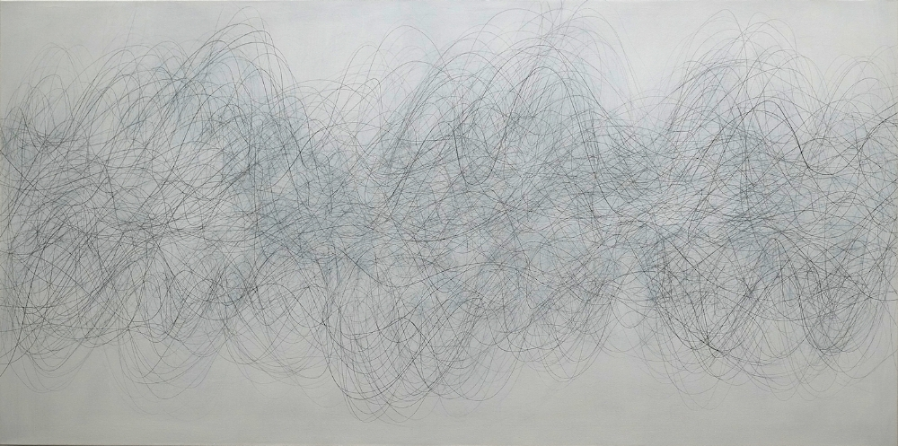 NOMAD , 2018, graphite and acrylic on canvas, 36 x 72 inches, $8000.