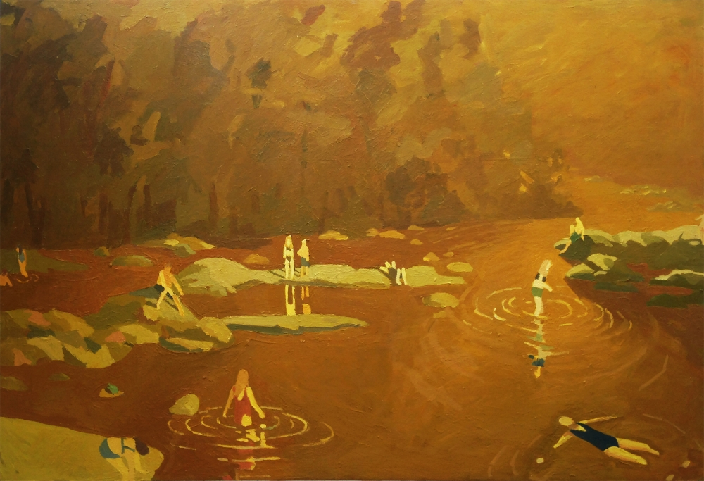 Sophie Treppendahl,  Gold James , 2017, oil on canvas, 48 x 70 inches, $5000.