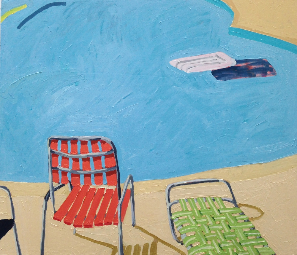 Sophie Treppendahl,  Pool Chairs, raft and a yellow noodle , 2018, oil on canvas 26 x 30 inches, $1500.