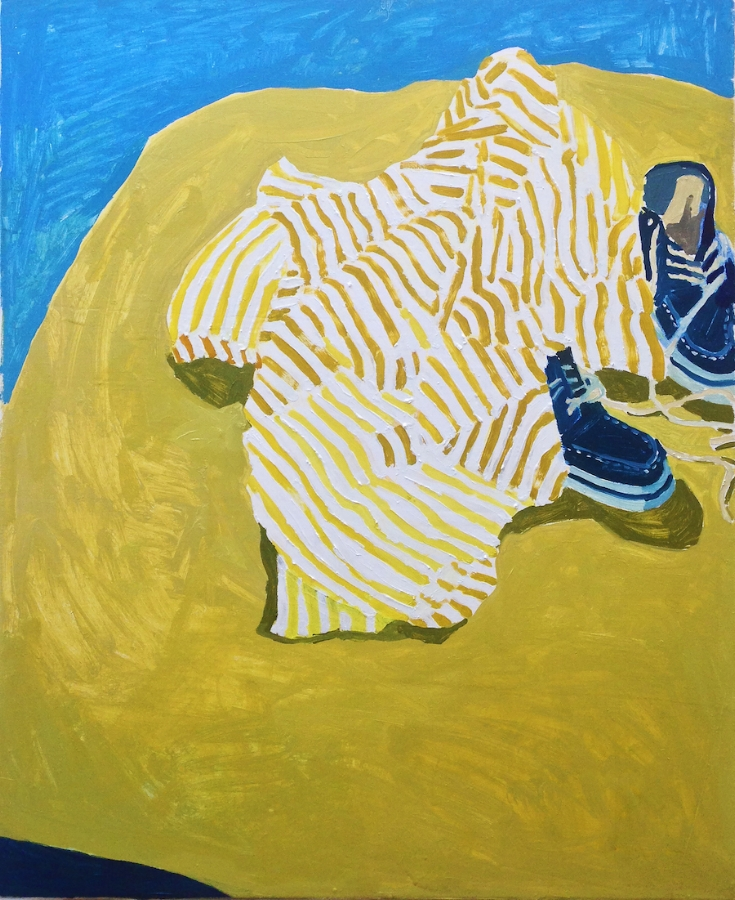 Sophie Treppendahl,  Striped Shirt and Sperrys , 2018, oil on canvas, 34 x 28 inches, $1800. (sold)