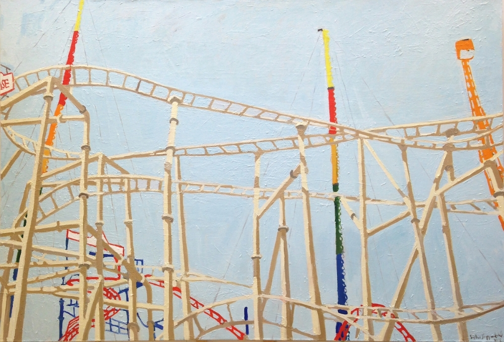 Sophie Treppendahl,  Physical Attraction (Coney Island) , 2017, oil on canvas, 48 x 69.75 inches, $5000. (sold)