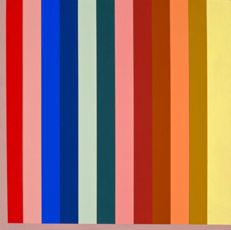 Katie Barrie,  Bright Colors Will Be Permitted with the Approval of the Architectural Committee , 2018, acrylic on canvas, 12 x 12 inches, $300. (sold)