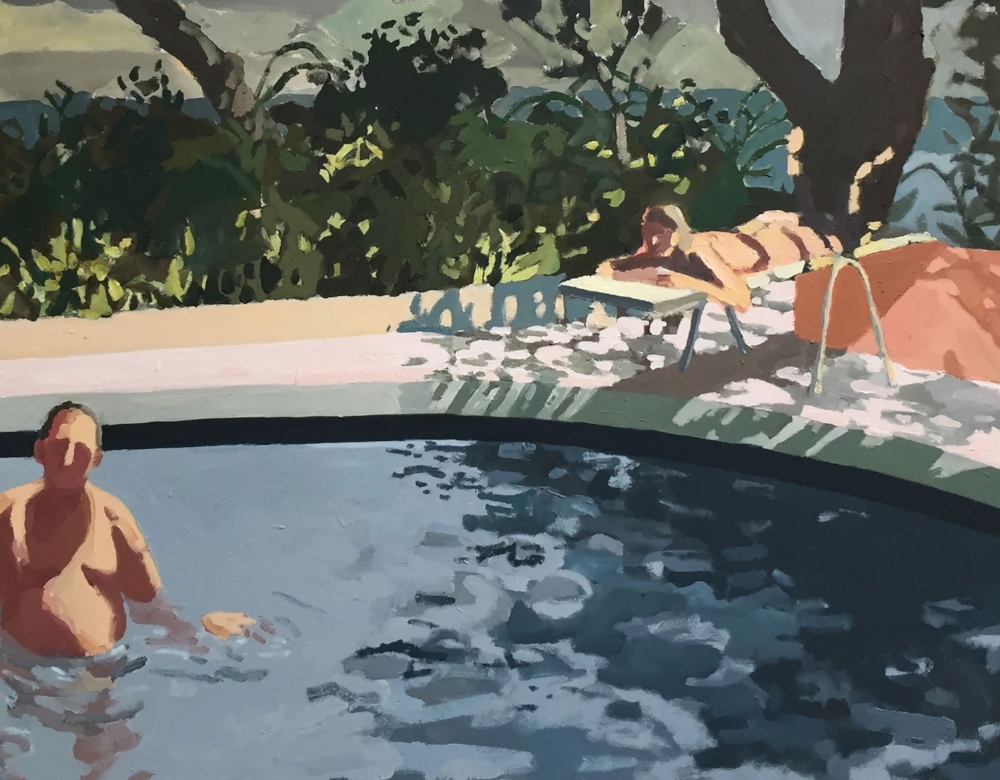 Sophie Treppendahl,  That Summer Feeling (is gonna haunt you for the rest of your days),  2017, oil on canvas, 38.75 x 49.75 inches, $4000.