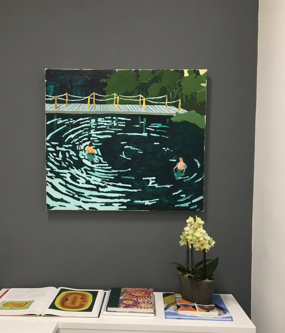 Sophie Treppendahl,  Rawlings Quarry , 2018, oil on canvas, 28 x 32 inches, $1800. (sold) (installation view)