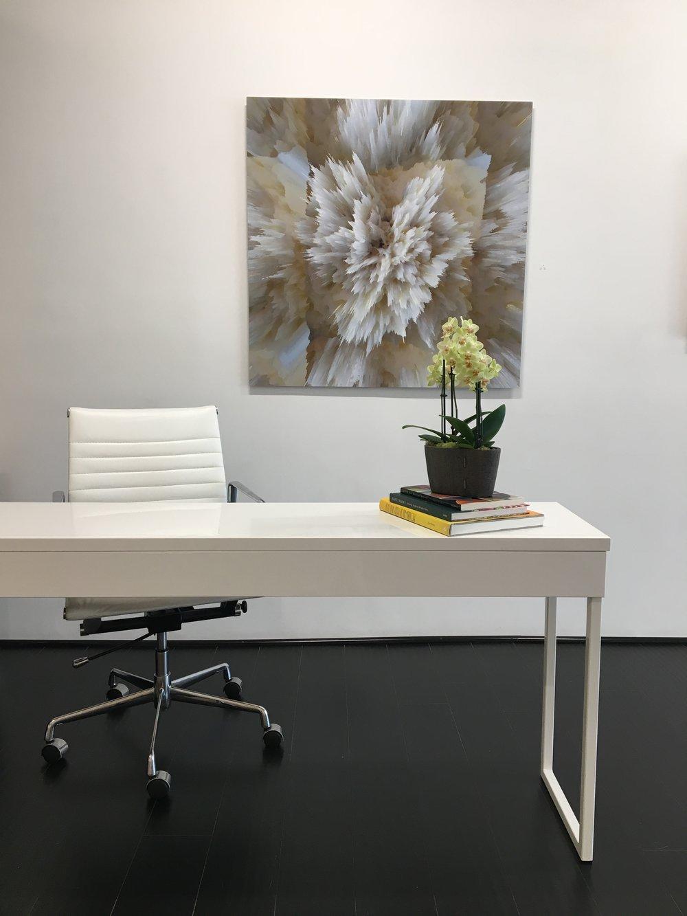 Alex Osborne,  ELECTRIC BURRATA , 2017, dye sublimation print on aluminum, 40 x 40 inches, edition 3/3, $3750. (installation view)
