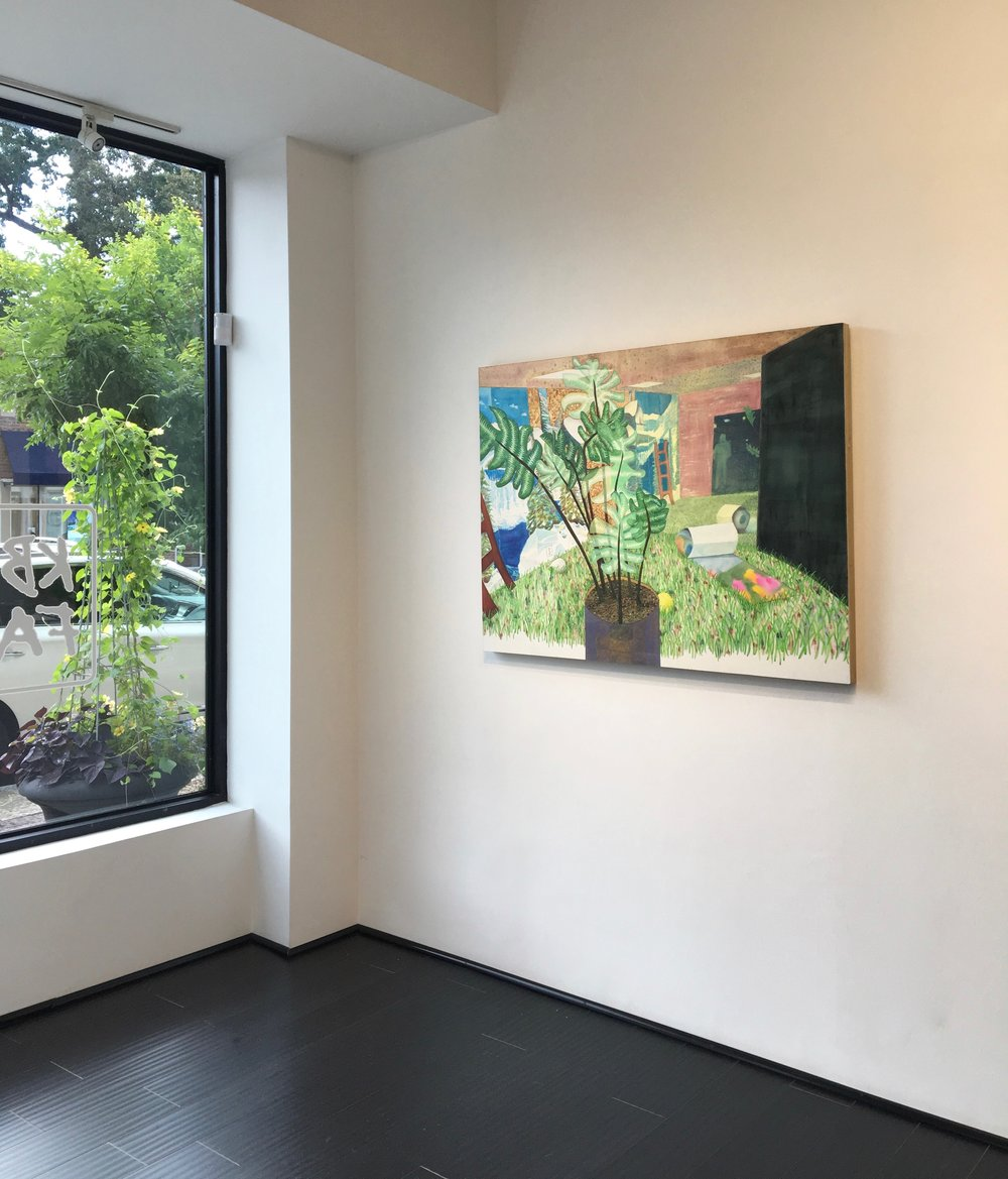 Rebecca Levitan,  First Day of Spring , 2017, watercolor on panel, 36.75 x 49 inches, $4500. (installation view)