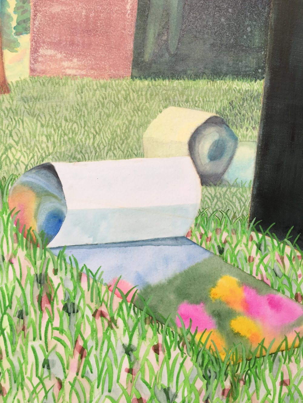 Rebecca Levitan,  First Day of Spring,  2017, watercolor on panel, 36.75 x 49 inches, $4500. (detail)