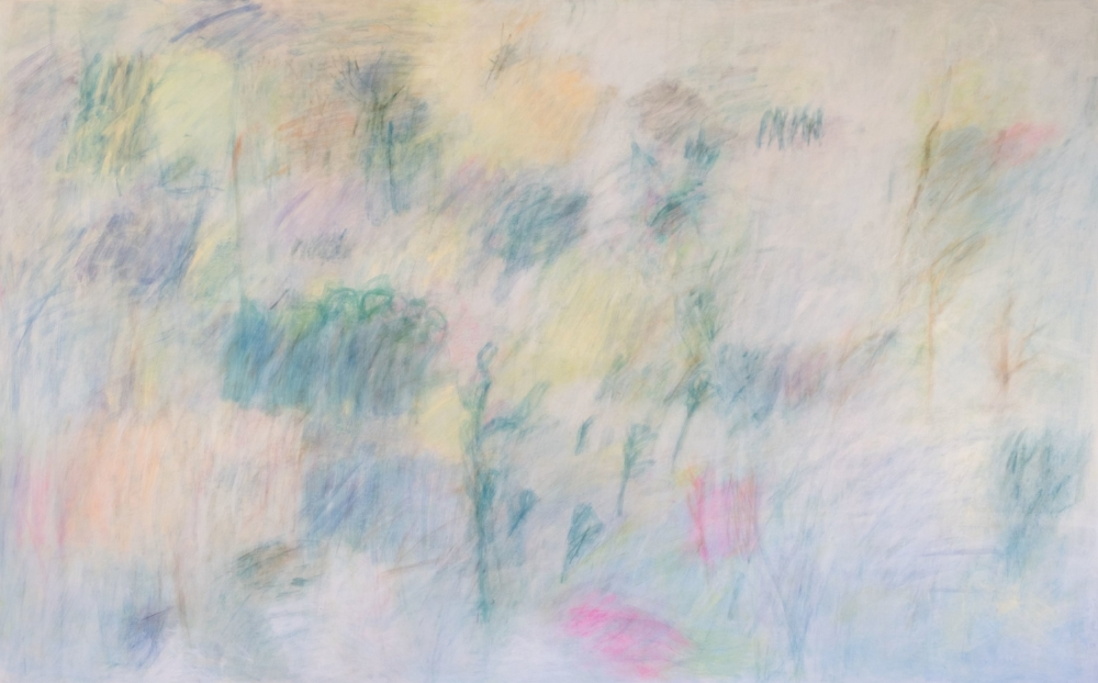 Nancy Daubenspeck,  January , 2018, casein and pigment on muslin mounted on panel, 46 x 73.5 x 2.5 inches, $11,000.