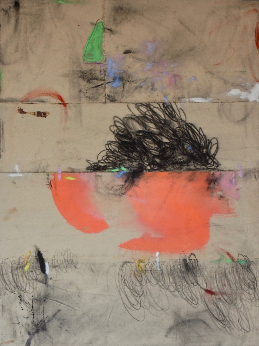 Dana James,  Mop Top (Sprinter V) , 2018, ink, oil, graphite, pigment on sewn canvas, 48 x 36 inches, $5000.