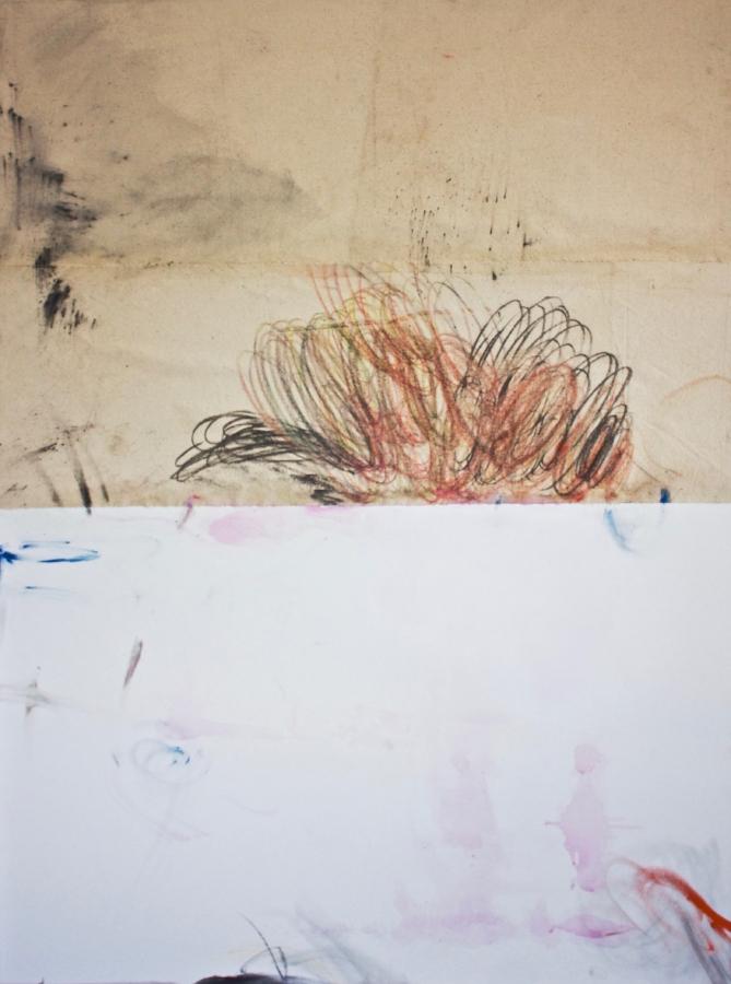 Dana James,  Bedrock (Sprinter VI) , 2018, crayon, oil, graphite, pigment on canvas, 48 x 36 inches, $5000.