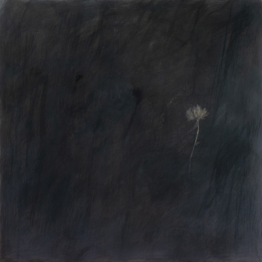 Flowers in the Moonlight , 2018 casein and pigment on muslin mounted on panel, 30 x 30 x 2.5 inches, $3400.