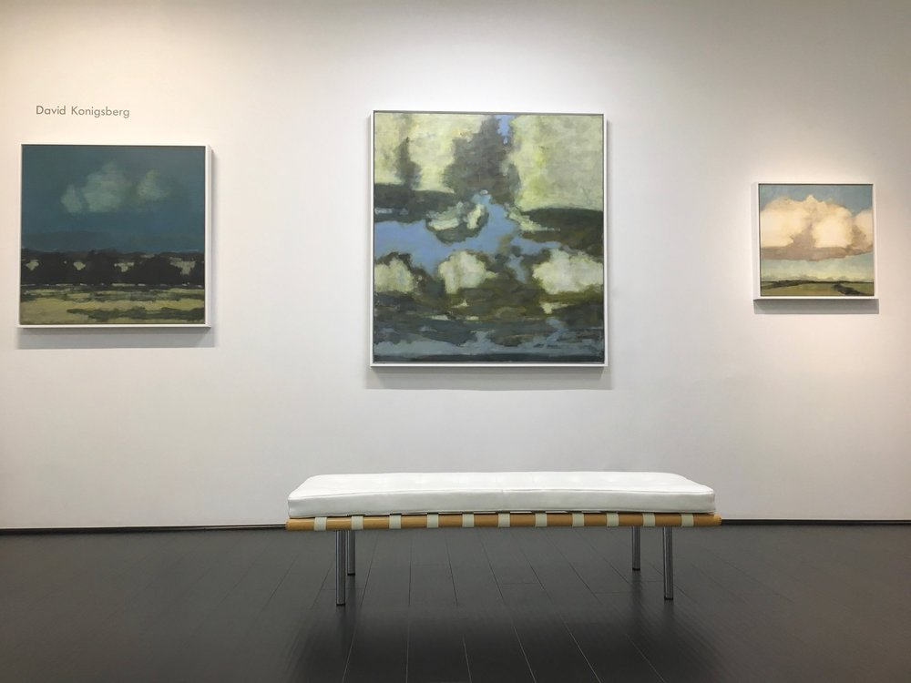 Installation view with paintings by David Konigsberg