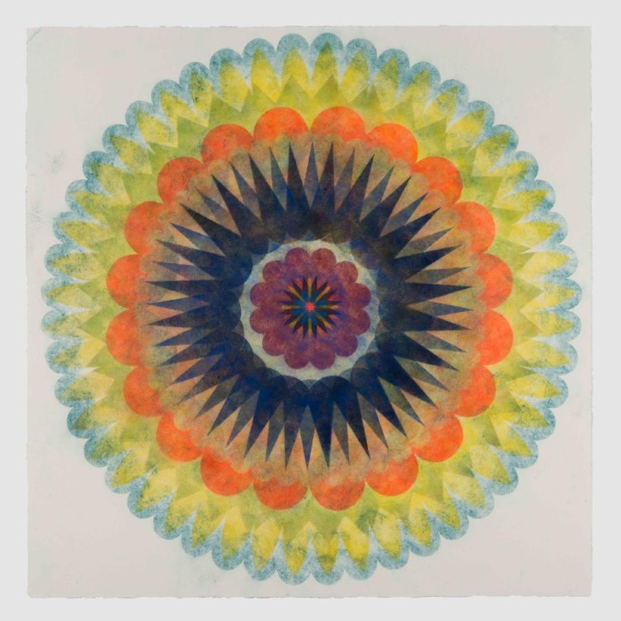 Pop Flower 69 , 2018, powdered pigment on paper, 30 x 30 inches (unframed), $3900. (unframed)