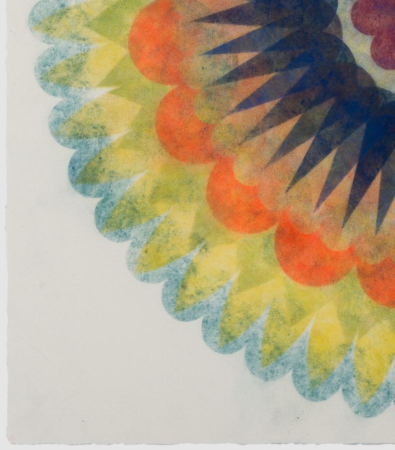 Pop Flower 69  (detail), 2018, powdered pigment on paper, 30 x 30 inches (unframed), $3900. (unframed)