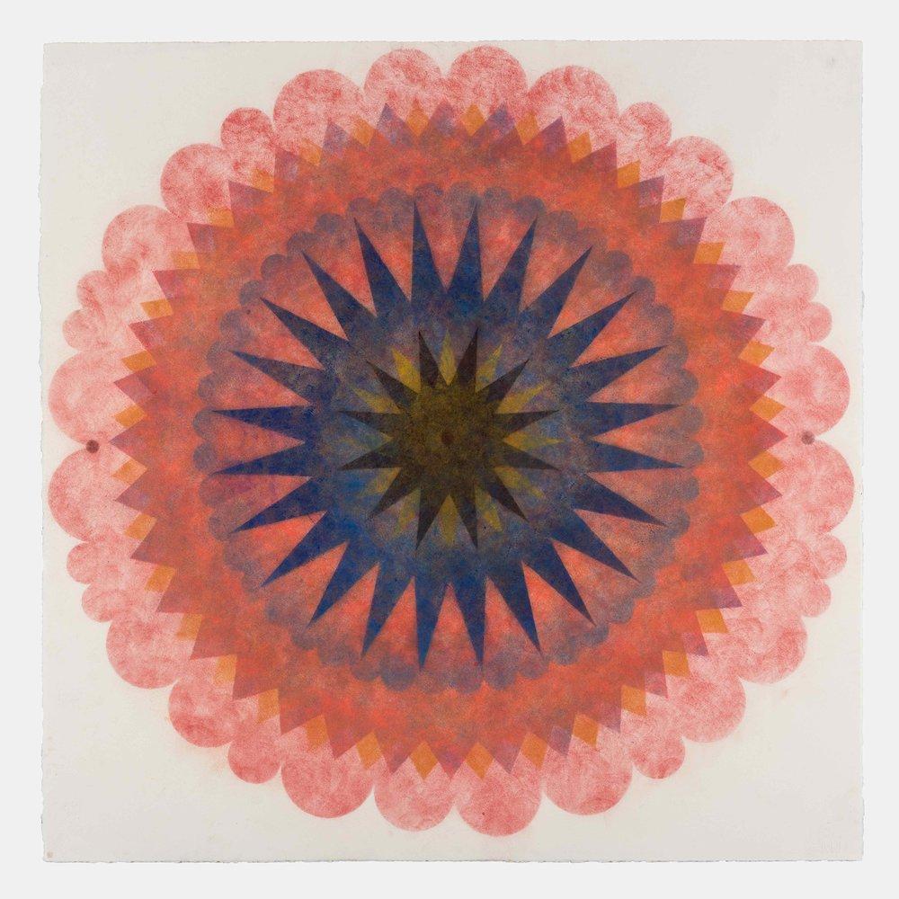 Pop Flower 70 , 2018, powdered pigment on paper, 30 x 30 inches (unframed), $3900. (unframed)