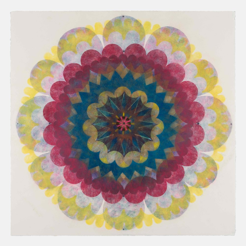 Pop Flower 71 , 2018, powdered pigment on paper, 30 x 30 inches (unframed), $3900. (unframed)