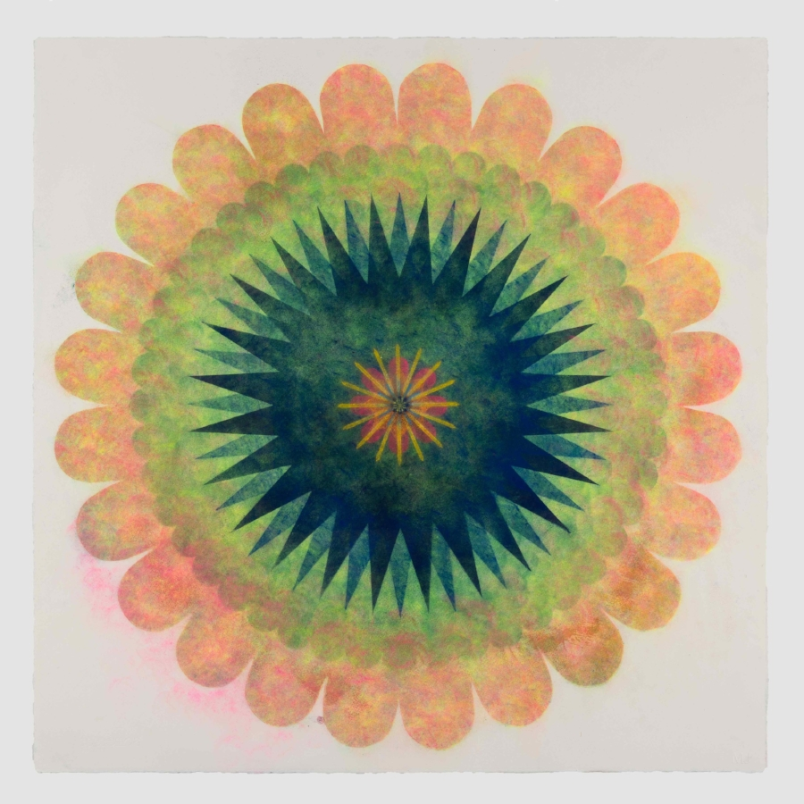 Pop Flower 72 , 2018, powdered pigment on paper, 30 x 30 inches (unframed), $3500.(unframed)