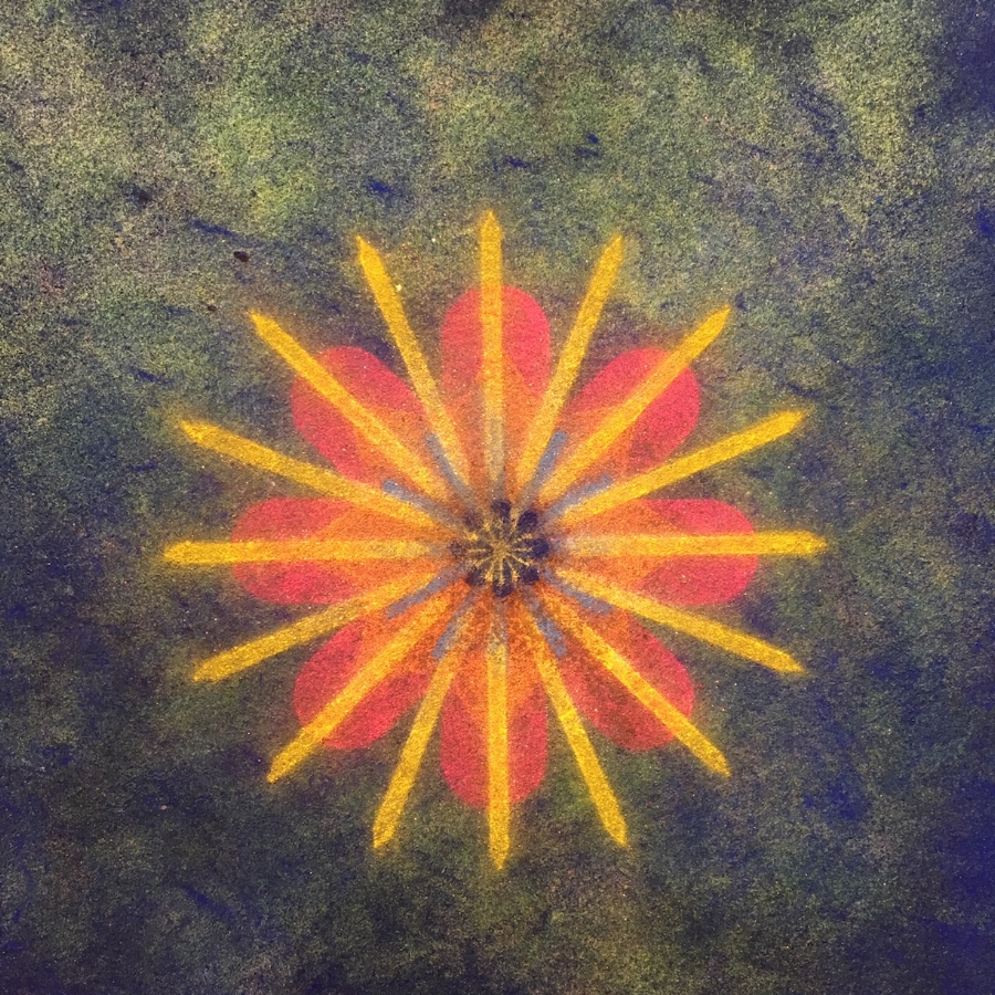 Pop Flower 72  (detail), 2018, powdered pigment on paper, 30 x 30 inches (unframed), $3900.(unframed)