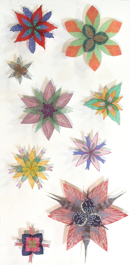 Spinney Stars , 2017, hand-colored intaglio prints on hand-cut lokta tissue and hand-colored digital prints on hand-cut kozo pinned with entomology pins to foam core, 40 x 20 x 2.5 inches* (framed), $4800. (framed) *can be oriented vertically or horizontally
