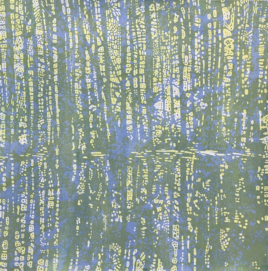 Woodland Landscape IX variation 8 , 2018, woodcut print with colored inks and colored pencil on paper, edition 1/1 (monotype), 41.25 x 41.25 inches, $3600. (framed)