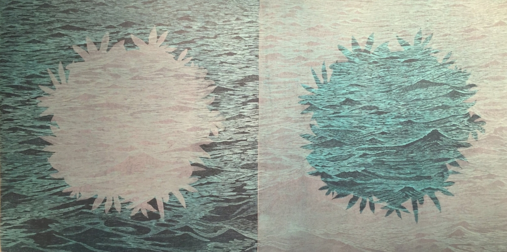 Sea/Bloom variations 8 and 9  (pair), 2016, woodcut prints with colored inks and colored pencil on paper, editions 1/1 (monotypes), 41.25 x 41.25 inches, $3600. (framed) (each)