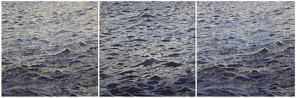 Seascapes  (suite), 2018, woodcut prints with colored inks, colored pencil, and watercolor on paper, editions 1/1 (monotypes), 39 x 117 inches, $10,200. (suite, framed)