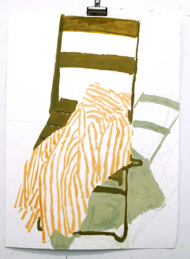 Green Chair Yellow Stripes , 2018, oil on paper, 30 x 22 inches (unframed), $800. (unframed)