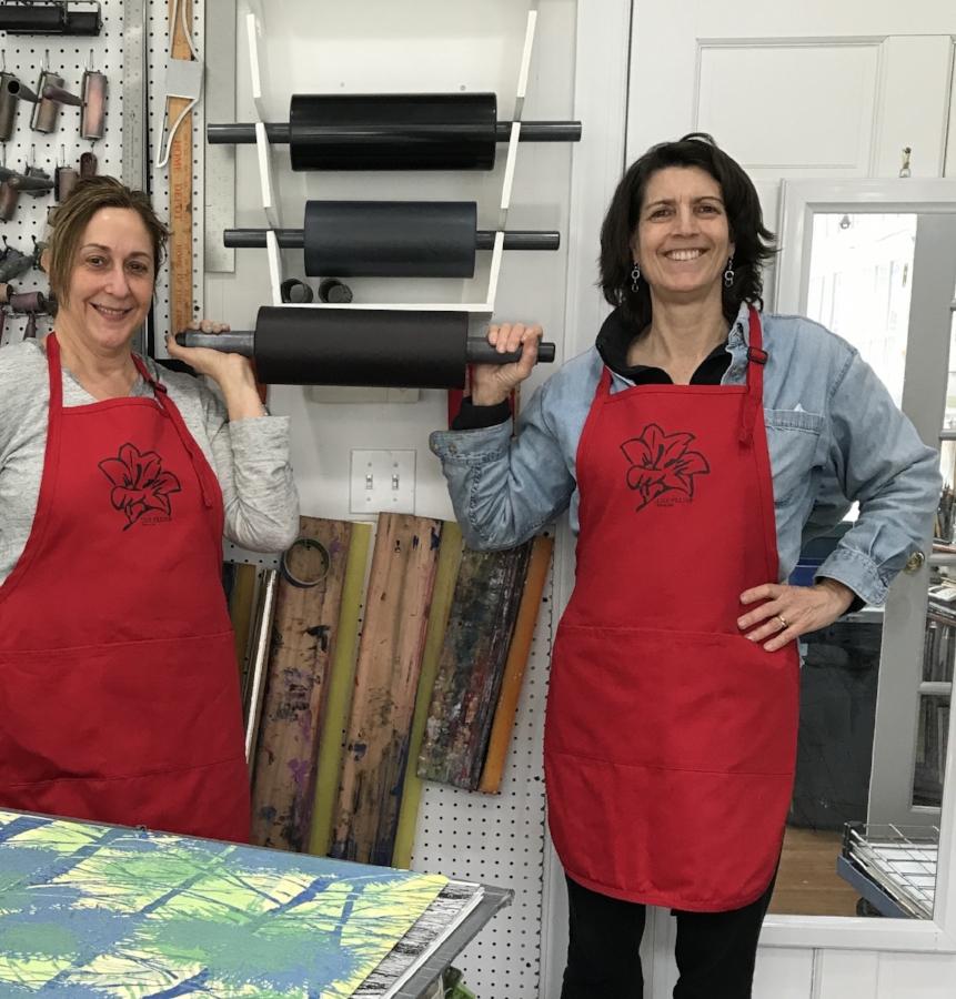 Eve Stockton with master printer Susan Goldman of Lily Press