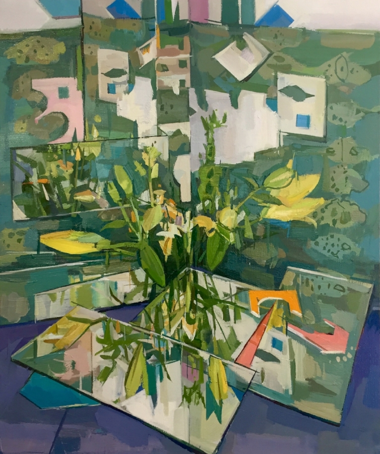 Flowers (reflected) , 2018, oil on linen, 24 x 20 inches, $3600. (framed)