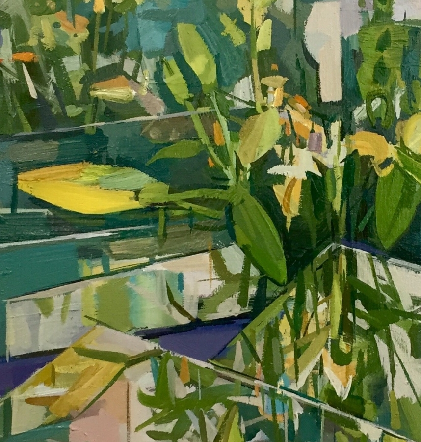 Flowers (reflected)  (detail), 2018, oil on linen, 24 x 20 inches, $3600. (framed)